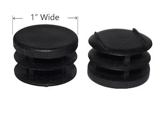 "1"" Round Multi Gauge Flat Inserts Choose Black Tube End Caps Glides"