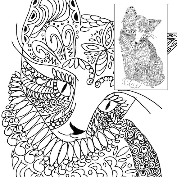 Kitten Coloring-in Book Page Etsy