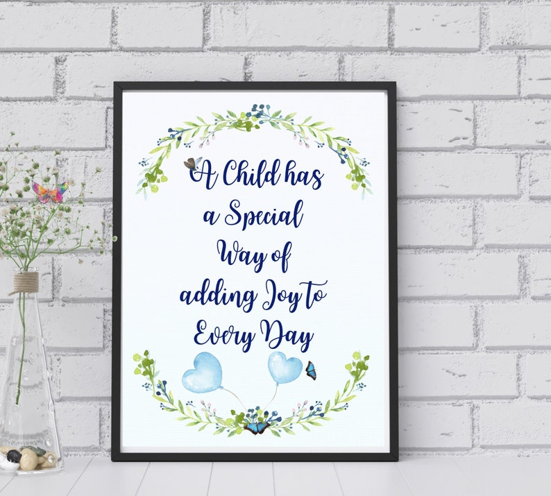 A Child Quote nursery wall art digital print. Babyshower image 0