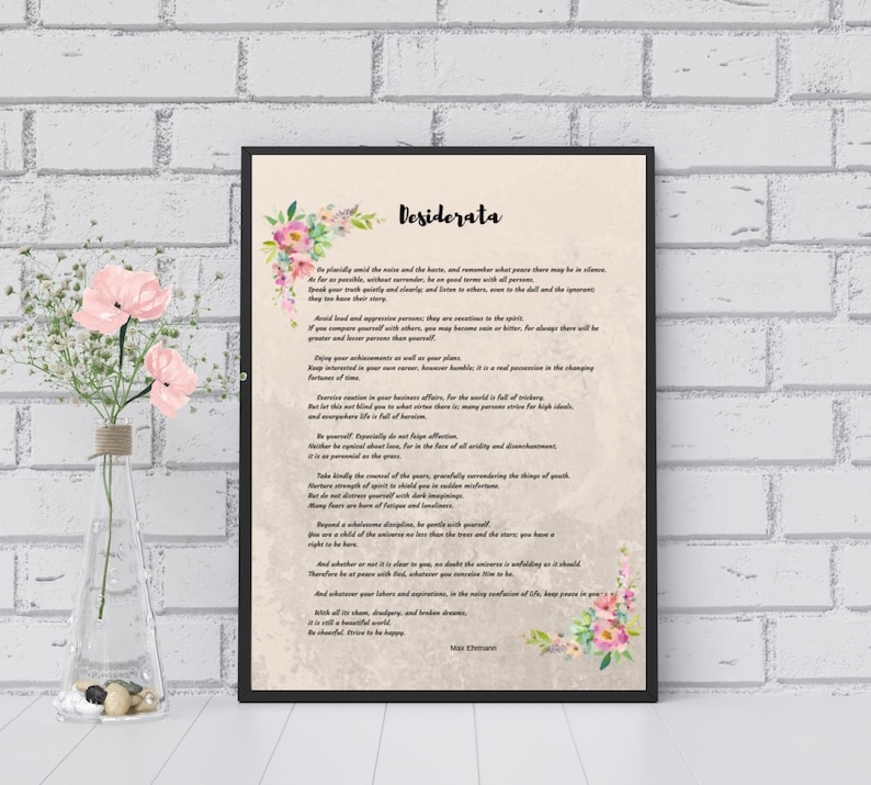 image about The Desiderata Poem Printable referred to as Finish model of the Desiderata Poem. Electronic Prompt downloadable poster print. Household decor or specific reward.
