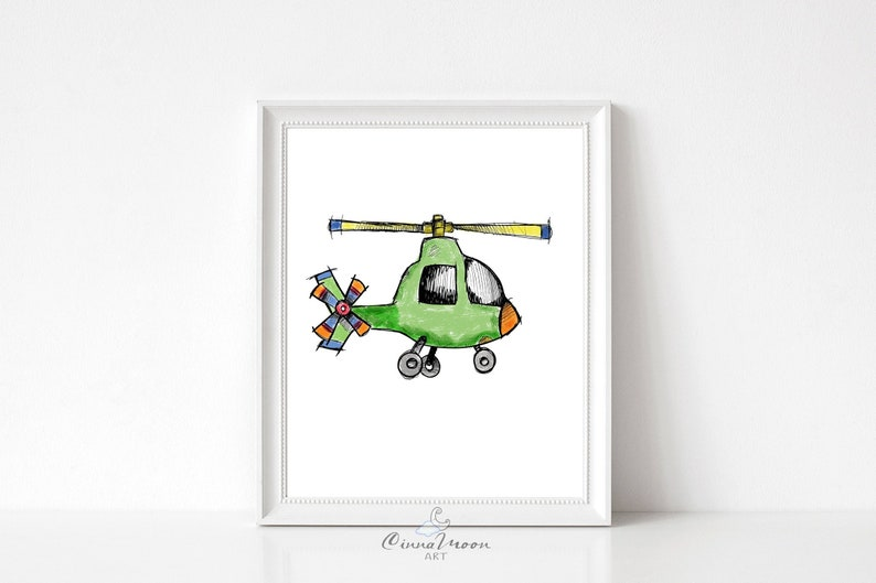 Helicopter-Helicopter print-Nursery Wall Art-Boy Nursery-Playroom wall  art-Boy room-Toddler Boy-Transportation-Baby Boy room-Nursery art