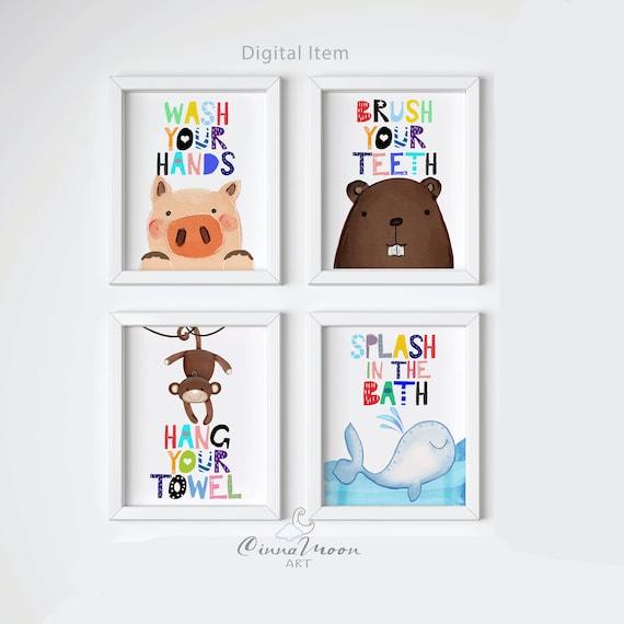 Kids Bathroom Prints Kids Bathroom Wall Art Brush Your Etsy