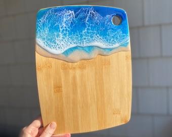 Ocean Decor Party Cheese Board Wedding Gift Blue Ocean Charcuterie Board Bamboo Wood Serving Board Nautical Beach Decor Ocean Tray
