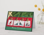 "Christmas Photo Card | Insert Your Own 4 Photos | 5""x7"" 