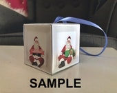 "DIY Christmas Box Ornament Template | Photoshop File | Insert Your Own Photos | 2""x2"" Square"