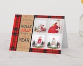 "Christmas Photo Card | Plaid | Insert Your Own 4 Photos | 5""x7"" 