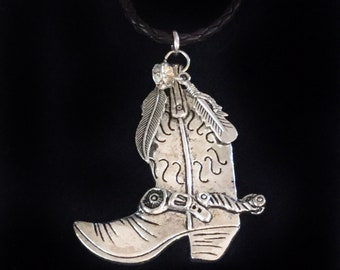d19da1a7820 Items similar to Fused Glass Cowboy Boot Pendant Necklace on Etsy