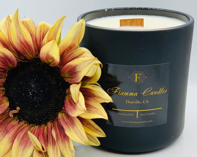 Luxury Candle: Lux, Matte Black Glass  13oz.