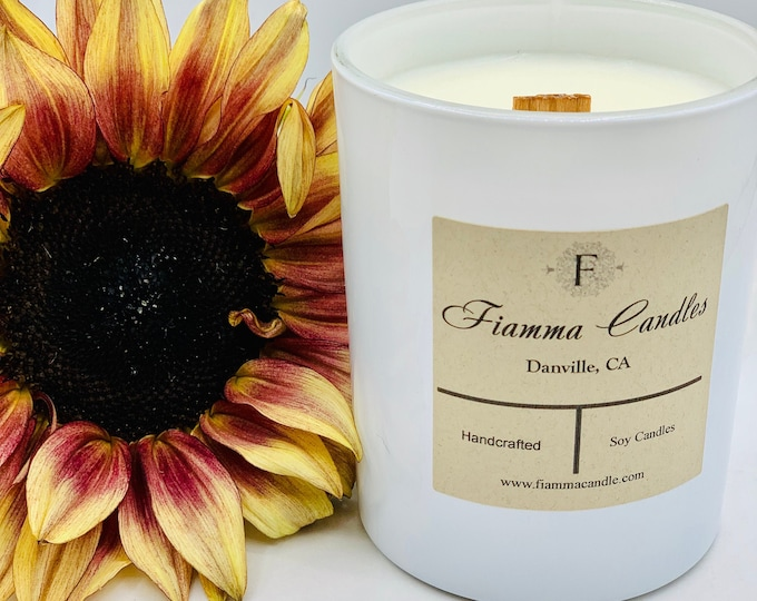 Luxury Candle: Nova, White Glass  7.5oz