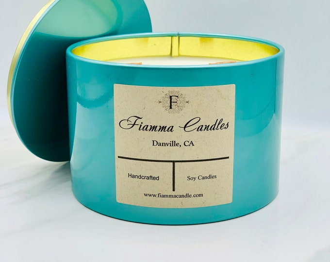 Luxury Candle Tin: Zen, Gloss Teal 13.5oz