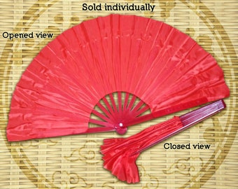 Easy to Open and Close Red Dancing Fans, Chinese Dance Fans, Oriental Dance Fans, Chinese Dancing Fans