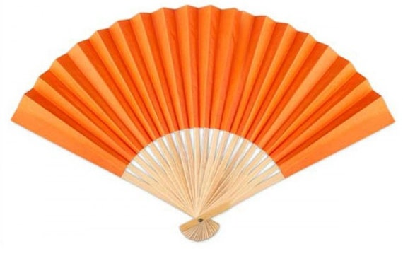 Orange hand fan