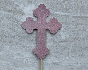 Cross Centerpiece, Cross  Communion Cake Topper, First Holy Communion, Baptism Cake Topper, God Bless, Girl or Boy Communion Decor