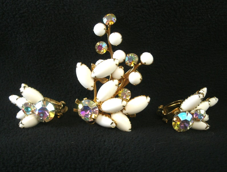Vintage Beaujewels rhinestone  brooch set  1950/'s signed