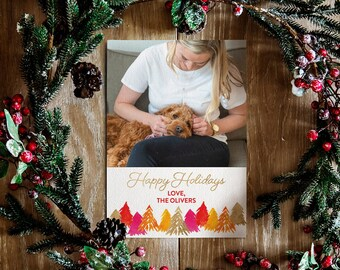 Pink and Orange Forest Trees Christmas Card | Colorful Christmas Card | Christmas Card with picture | Colorful Bright Holiday Card