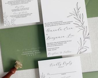Botanical Wedding Invitation | Sage Green Wedding Invitation Set | Elegant Greenery Wedding Invitation | Simple Stem Wedding Invitation