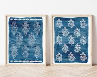 Navy and White Block Print Art Print Set | Indigo and White Block Print | Block Print Artwork | Set of 2 Block Print Wall Art
