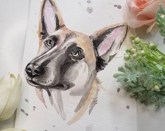 Custom NATURAL Watercolor Pet Portrait - 5x7
