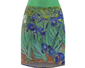 da5cb94ac2 Irises Pencil Skirt - Van Gogh Art Clothing