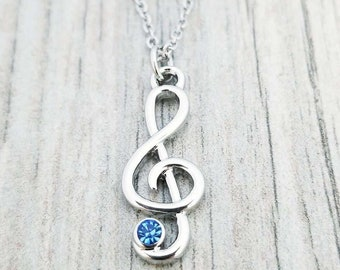 Personalized G-Clef Necklace Maple /& Walnut  Personalized Music Gift  Music Gift