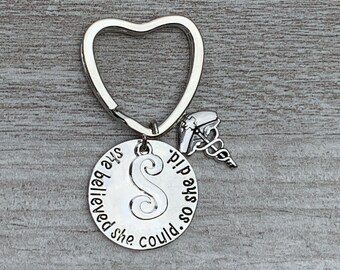 She Believed She Could So She Did Nurse Gift Custom Nursing Jewelry Show Your Nurse Appreciation Personalized Nurse Keychain