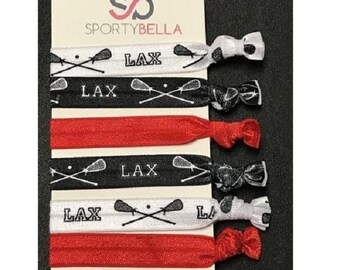 58 FOE Lacrosse Print Fold Over Elastic Team Sports Printed Elastic Kids DIY Hair Tie FOE White Red Lacrosse Elastic for Hair Ties