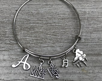 charm bracelet Musical note bracelet jewelry bangle music gift music lover gift faux leather bracelet music note