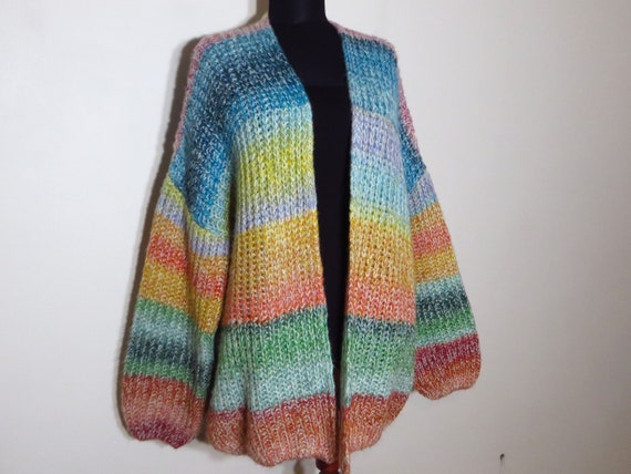 colorful knit sweater, women's fluffy sweater, open front large cardigan, multicolor slouchy cardigan, loose knit dress, cuddle knitwear