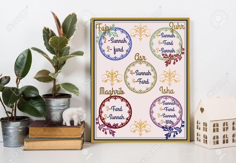 Prayer rahkats, , gold border, Fajr, dhur, asr, zuhr, maghrib, Isha