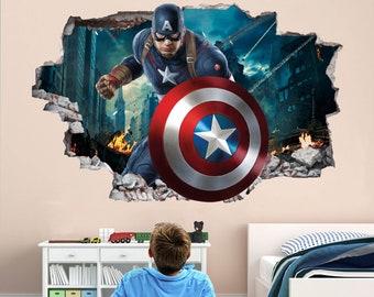 Personalised Marvel Avenger Captain America Wall Sticker Art Decal Decor Vinyl 4