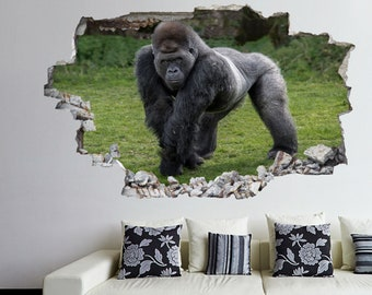 GORILLA WALL STICKER 3D LOOK BEDROOM LOUNGE NATURE WALL DECAL Z661