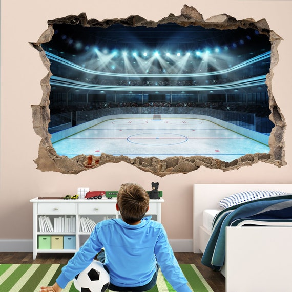 Ice Hockey Rink Wall Decal Sticker Mural Home Office Bedroom Etsy