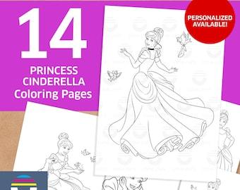Kleurplaten Prinsessen Assepoester.Assepoester Kleurplaten Etsy