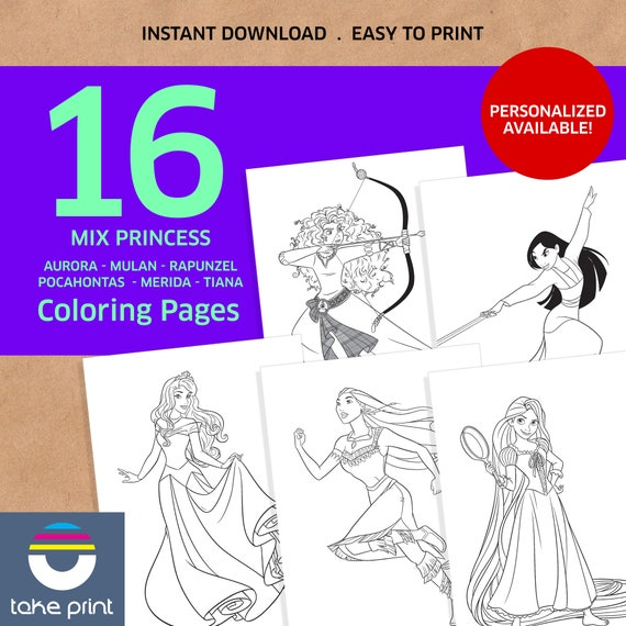 Disney Princess coloring pages, disney coloring book, coloring book,  printable coloring pages, baby book, instant download, personalized