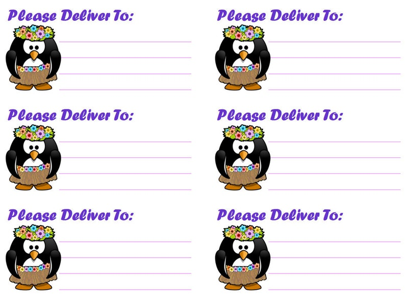 Hula Penguin Please Deliver To