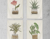 4 Designs Botanical, Flower, Plant Pot Watercolor Fabric Poster, Wall Hanging, Tapestry