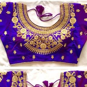 MAROON Designer Readymade Butta Work Banglori Silk Wedding Saree Stitched Embroidery Blouse Crop Sari Top Work For Women