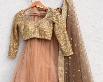 913eb66a46ceb1 Wedding party wear Indian Designer Peach Lehenga choli dupatta for girls  and women custom stitched lengha blouse thread embroidered