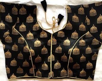 Designer Brocade Readymade Banarasi Wedding Saree Stitched Blouse Crop Sari Top Party Wear For Women