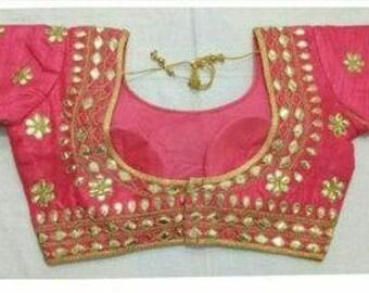 e35ab4b0903b71 Free Shipping Designer Readymade Pink Party Wear Wedding Saree Stitched  Blouse Crop Sari Top New Banglori Silk Gota Patti Work For Women