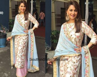 2f5b0a69e3 Indian Bollywood Traditional Ethnic Madhuri Dixit Taffeta Embroidered  Palazzo For Women's And Girls