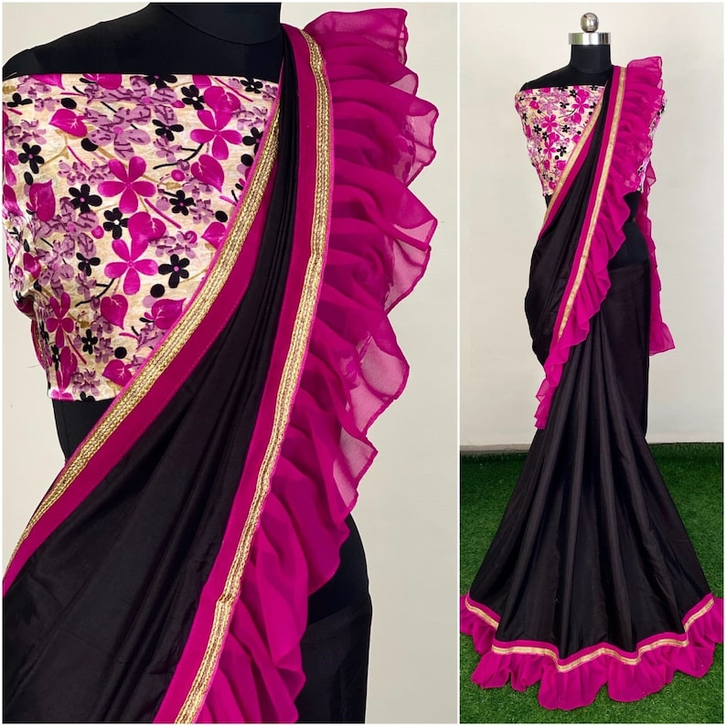 Ruffle Border Black Saree Blouse Running Formal PartyWear Wedding Ceremony Sari Party Wear with Floral Printed Choli Blouse