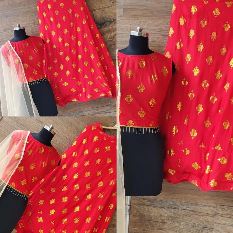 indian Pakistani Designer Red lehenga choli Golden Foil Work wedding bridesmaids dress Ghagra choli chaniya choli bridal lehenga