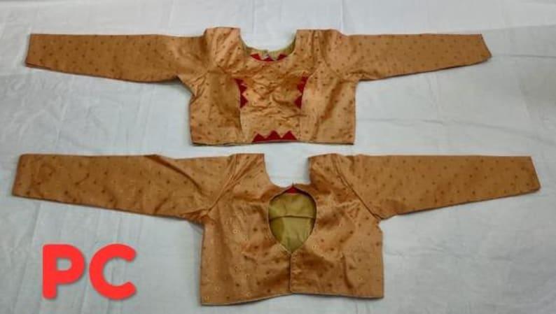 Designer Readymade Embroidery Saree Choli Stitched 34 Sleeves Crop Top Wedding Art Silk Sari Blouse for Women 1 pcs
