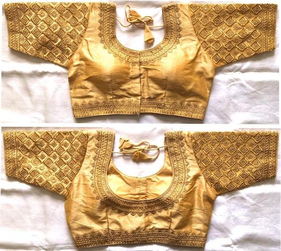 Designer Readymade GOTTA Floral New Banglori Silk Wedding Saree Stitched Embroidery Blouse Crop Sari Top Work For Women