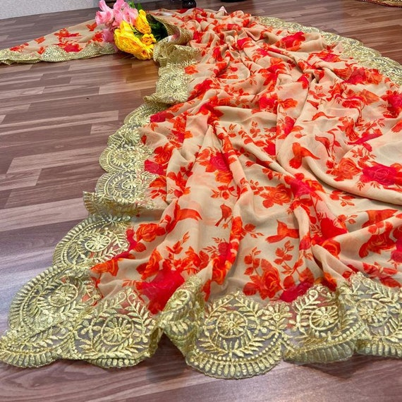 New LINEN SILK Festive Wear Designer Floral Printed Saree Bridal Gift Occasional Party Wedding Sari Wear with Desinger Printed Blouse