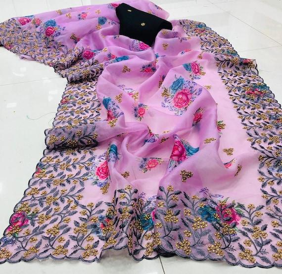 Organza Silk Floral Printed with fancy embroidery cut border Indian Puja saree blouse wedding Bridesmaids saree traditional function sari