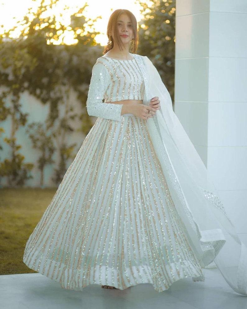 White Sequins Work Lehenga Choli Navratri Dresses Women Girl Wedding Chaniya ghagra choli