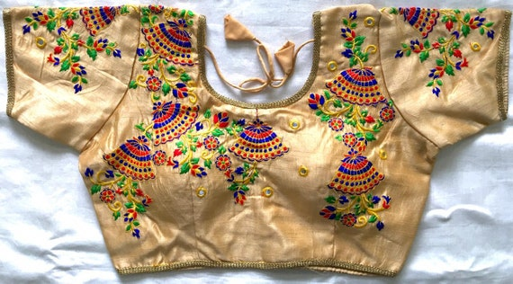 Designer Heavy Embroidery Readymade Blouse Party Wear Wedding Saree Stitched Crop Sari Top Back open Hooks