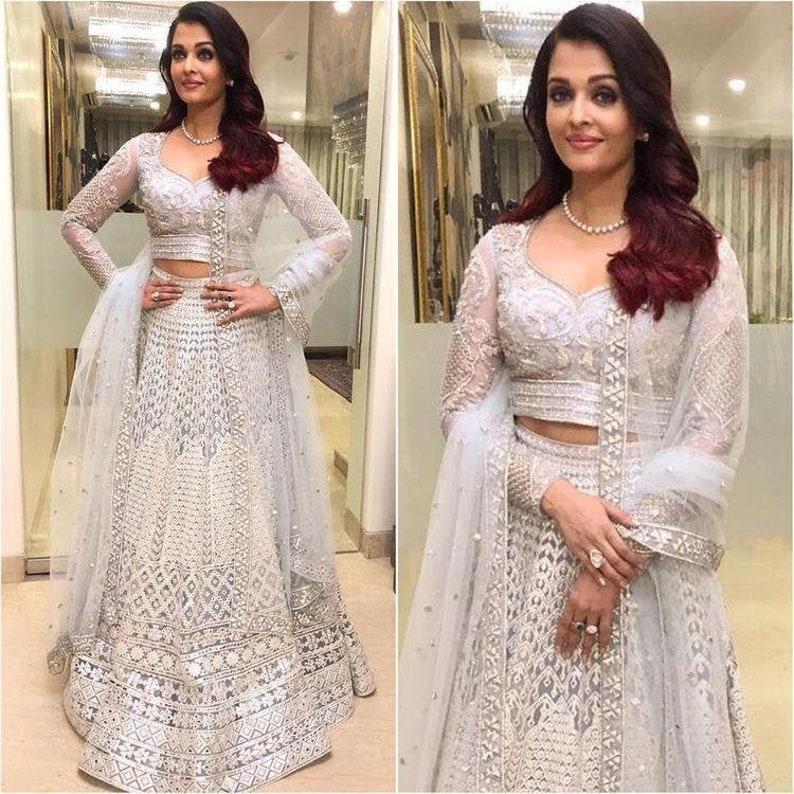Indian Bollywood Designer White Heavy Embroidery Lehenga Choli With Shawl Traditional Ghagra Choli Chaniya Choli Wedding Partywear Dress